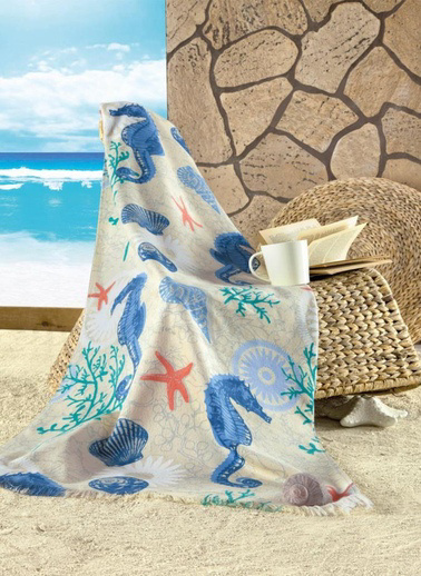Maxstyle Kadife Plaj Havlusu Seahorse 70X160 Renkli